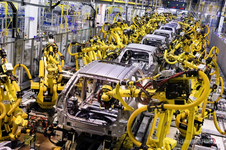 Robot machines weld car bodies at Kia Motors Slovakia